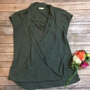 Pleione LG Green Ditsy Floral Open Front Blouse